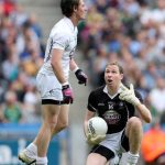Kildare's goalkeeper Shane Connolly and Emmet Bolton have words after Dublin's opening goal