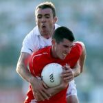 """Kildare's John Doyle tackles John Bingham of Louth: """"We felt we let ourselves down after the Dublin game"""" Photo: INPHO/Donall Farmer"""