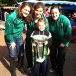 Irish captain Fiona Coghlan from Straffan with Jenny Murphy from Kilcullen and Ailish Egan from Dublin and Katherine Bartholomew from Kilcullen with the Six Nations Trophy at Naas Farmer's Market