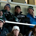 New Kildare manager Jason Ryan watches from the stand with selectors Damien Hendy, Ronan Quinn and Trevor O'Sullivan Photo: INPHO/Ryan Byrne