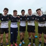 Dream team: These five Newbridge College players are All-Ireland sprint champions when they're not terrorising opposition rugby teams -  Kevin Kyne, Johnny Deane, Cian Murphy, Luke Morris and Daithi Murphy won the All-Ireland 4x100m relay junior schools' title last June