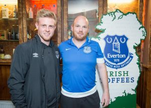 Sam Byrne, with Kildare Nationalist sports editor Ger McNally, at a Q&A session organised by Everton supporters club, The Irish Toffees, in Dublin  Photo: Bernard Geraghty