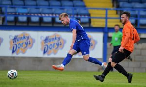 Sam Byrne gets a shot away during Everton u21s 3-1 win over Glenavon last weekend Photo: by Charles McQuillan/Getty Images