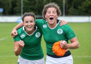 Jenny Murphy and team mate Louise Galvin celebrate qualifying for the HSBC World Rugby Sevens Series Photo: ©INPHO/Gary Carr