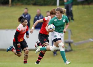 Jenny Murphy on the way to scoring a try against China in the World Rugby Women's Sevens Series Qualifiers at the UCD Bowl Photo: ©INPHO/Colm O'Neill
