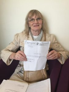 Dr Lydia Foy with the some of the correspondence with the General REgister Office going back 18 years