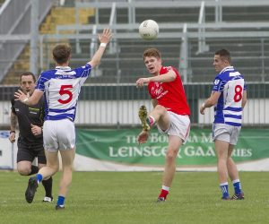 Kevin Feely in action for Athy in their SFC quarter-final win over Naas. He has given up life as a professional soccer player to focus on his studies and being a success on the GAA fields for club and county Photo: Piotr Kwasnik