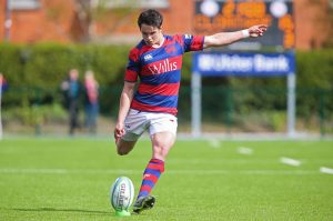 Athy's Joey Carbery kicks a conversion during Clontarf's semi-final win over UCD Photo: ©INPHO/Gary Carr