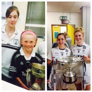 Left: Erica Burke meets Aisling Holton after Kildare's All-Ireland Junior final win in 2004 Right: By 2016, Burke is Holton's midfield partner as Kildare again get their hands on silverare at Croke Park, this time in the All-Ireland intermediate final